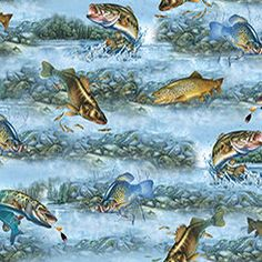 Fishing Fabric Fish on blue / So Many Fish So Little Time / Fabric Quilting Treasures 1649 - 25925 /  Yardage and Fat Quarters by SewWhatQuiltShop on Etsy