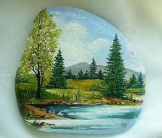 Pretty trees by the stream rock painting. Stone Art Painting, Rock Painting Designs, Pebble Painting, Pebble Art, Painted Rocks Craft, Hand Painted Rocks, Painted Stones, Stone Crafts, Rock Crafts