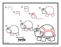 Simple steps for kids on how to draw a turtle!