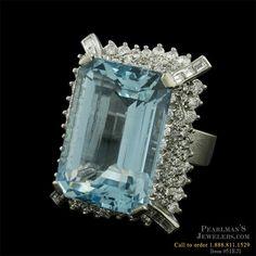 bb4633524 Estate Jewelry Aquamarine & diamond cocktail ring & earrings