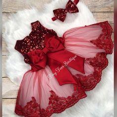Girls red sequin dress Christmas dress pageant dress valentines dress lady in red easter dress custom dress big bow dress Baby Girl Birthday Dress, Baby Dress, The Dress, Frocks For Girls, Little Girl Dresses, Girls Dresses, Maxi Dresses, Bridesmaid Dresses, Kids Dress Wear