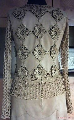 Irish lace, crochet, crochet patterns, clothing and decorations for the house, crocheted. Crochet Coat, Crochet Fabric, Crochet Tunic, Crochet Jacket, Freeform Crochet, Irish Crochet, Crochet Clothes, Crochet Patterns, Crochet Girls