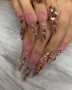 Custom nails design Bling Acrylic Nails, Best Acrylic Nails, Bling Nails, Swag Nails, Grunge Nails, Nail Art Designs Videos, Long Nail Designs, Stylish Nails, Trendy Nails