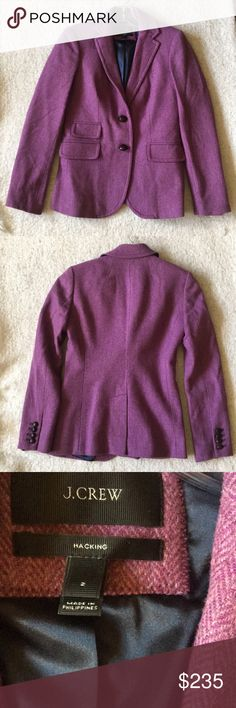 Hacking blazer - coat Purple herringbone fitted jacket. Thick wool fabric, fully lined with lots of fabulous details including real leather wrapped buttons. Like new. Check out my closet for other colors. J. Crew Jackets & Coats Blazers