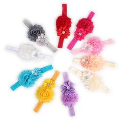 Tinksky 10 Colors Beautiful Baby Infant Girls Sparkling Rhinestones Decor Two Silk Flowers Headband Hair Band Hair Accessories Photo Props >>> Click image for more details.