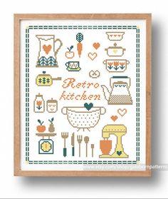 Retro kitchen big - PDF Counted cross stitch pattern - Vintage - Kitchen