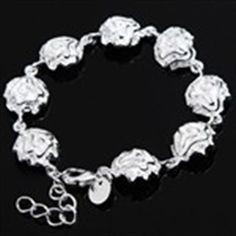 Fashionable Rose Style Bracelet Hand Chain Wrist Ornament Jewelry for Female Woman Girl - Silver