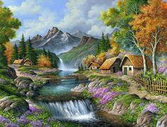 Ideas For Diy Art Pictures Paint Nature Paintings, Beautiful Paintings, Beautiful Landscapes, Beautiful Scenery, Nature Pictures, Art Pictures, Landscape Art, Landscape Paintings, Waterfall Drawing