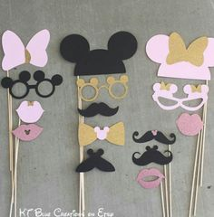 Photo prop. Birthday photo props. Pink and gold minnie mouse birthday party.  Etsy