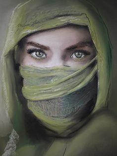 Veiled in green - pastel (2021) Veil, My Arts, Pastel, Green, Cake, Veils, Crayon Art, Toile, Melting Crayons