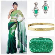 Colour Palette:  Peacock Green! Simple way to WOW a simple saree!  Gold bet, chandelier earrings, crystal clutch! http://ctaare.com/designers/designers/satya-paul/saree-49.html