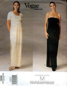 a1879aaf3c6fa Vogue Designer Lauren Sara, Maternity evening gown, shoulderless, side  slit. front pleat special occasions including bridal gown v 1689 8-12