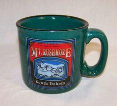 Coffee Mug - Mount Rushmore South Dakota - Heavy Green Tea Cocoa Souvenir Cup #ebay #GotPicks