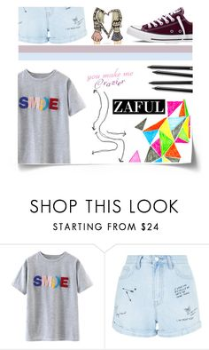 """""""#Fun"""" by juromi ❤ liked on Polyvore featuring New Look and Converse"""