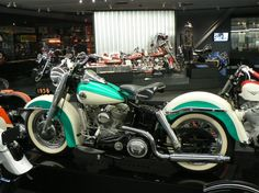 Turquoise and Antique White Harley Davidson