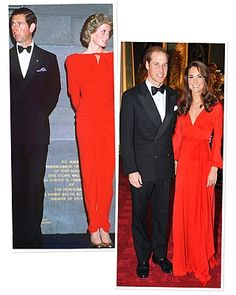 16.10.2011 The Duchess of Cambridge sizzled in red as she and her husband attended a charity gala last night.  Kate, who wore a red evening gown by Beulah London with billowing sleeves, and William were guests of honour at the black tie do held at St James's Palace in London by 100 Women in Hedge Funds.