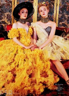 Dakota Fanning and Elle Fanning (both in Alexander McQueen) photographed by Bruce Weber for Vanity Fair, March 2013