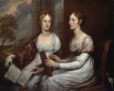 .:. The Misses Mary and Hannah Murray (1806).John Trumbull (American,1756-1843). Oil on canvas.Smithsonian American Art Museum.This portrait, painted for the sisters' father, a prosperous New York merchant, reflects Trumbull's mature portrait style at its apogee. One sister holds a drawing instrument while the other has a musical score. Both are ladies of leisure who have received training in the arts.