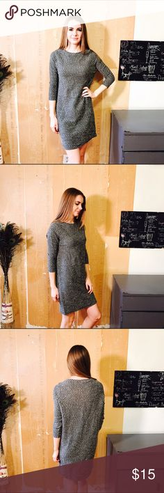 """COS KNIT TWEED STYLE DRESS #428 COS, 3/4 sleeve dress. Gray black and white. Size XS CONDITION: EUC No issues.  🎁 SHIPS WITHIN 24HRS  CHEST: 38"""" WAIST: 36"""" LENGTH: 34.5"""" INSEAM:  *All measurements taken while item is laid flat (doubled when necessary) and measured across the front  MATERIAL: Cotton Polyester  STRETCH: yes  INSTAGRAM @ORNAMENTALSTONE 🚫Trading COS Dresses"""