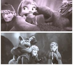 Kristoff and Anna laughing at each other. I think this is adorable.
