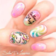 18 Inspirational Unicorn Nail Designs You'll Fall Loving With Sweet Unicorn Ombre Nägel Unicorn Nails Designs, Unicorn Nail Art, Unicorn Hair, Nails For Kids, Girls Nails, Girls Nail Designs, Nail Art Designs, Cartoon Nail Designs, Little Girl Nails