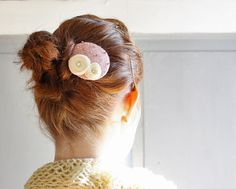 15% OFF SALE Small Dusty Rose & Cream Rosette by OggleAesthetics