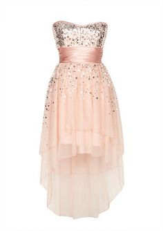 Strapless sweetheart dress with scattered sequin detail with high-low hemline. Back zipper for better fit. Fully lined.