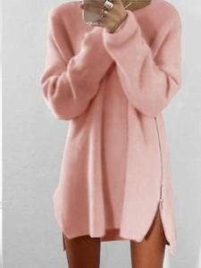114b7403ee6347 Round Collar Casual Long Sleeve Oversized Sweater – dressinyou Long Sleeve  Sweater Dress