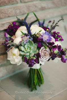 purple peonies succulents bouquet | Purple bouquet of succulents, white peony and roses #purplebouquet # ...