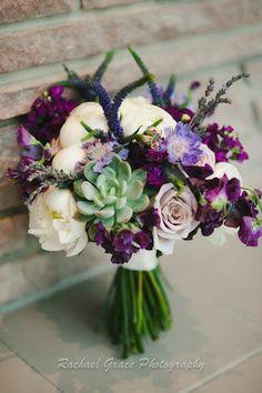 purple peonies succulents bouquet | Purple bouquet of succulents, white peony and roses #purplebouquet # ...