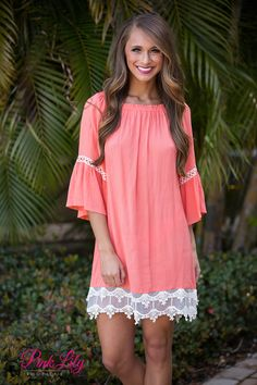 Still Roaming Coral Lace Dress - The Pink Lily Boutique