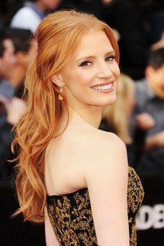 Jessica Chastain in Alexander McQueen, up close at the 84th Academy Awards in 2012.
