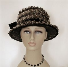 Vintage Black & Grey Looped Straw Hat by WildrosePrimitives