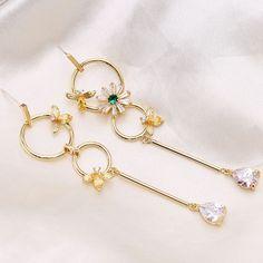 3980e6462 Golden Korean Flower Bee Ring Long Earring Temperament Fashion Fairy  Asymmetric 925 Silver Needle Earrings,