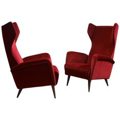 Pair of Armchairs Mod. 820 by Gio Ponti | See more antique and modern Armchairs at https://www.1stdibs.com/furniture/seating/armchairs