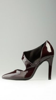 Burgundy patent leather court shoes