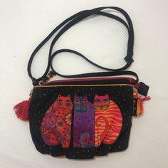 e5ec04d7e6 Laurel Burch Feline Friends Cats S Canvas Crossbody Purse Handbag Shoulder  Bag