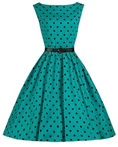 Lindy Bop 'Audrey' Turquoise Polka Dot Vintage 1950's Inspired Swing/Jive Dress (6XL, Turquoise) - Rockabilly Clothing 50s