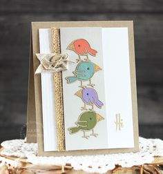 Hi card by Laurie Schmidlin for Paper Smooches - Birds 2 dies, Hello Sampler