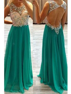 A-line+Scoop+Floor-length+Chiffon+Prom+Dresses/Evening+Dresses+#SP7311
