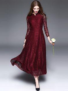 Vintage Pure Color Lace Hollow Out Maxi Dress