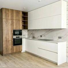 Loft Kitchen, Living Room Kitchen, Home Room Design, House Design, Kitchen Furniture, Kitchen Decor, Small Open Kitchens, Kitchen Design Open, Apartment Interior