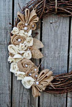 Burlap flowers on grapevine wreath Burlap Projects, Burlap Crafts, Wreath Crafts, Diy Wreath, Door Wreaths, Grapevine Wreath, Wreath Burlap, Stick Wreath, Rustic Wreaths