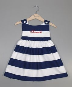 Another great find on #zulily! Navy Stripe Personalized Jumper - Infant, Toddler & Girls by Princess Linens #zulilyfinds