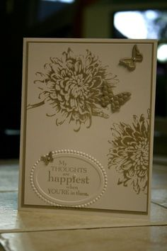 Hand Made My Thoughts are Happiest when you're in Them Greeting Card Stampin Up. $3.00, via Etsy.