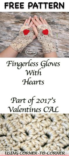 Fingerless Gloves with Hearts - Free Crochet Pattern as part of the 2017's Valentine's CAL by Nicki's Homemade Crafts