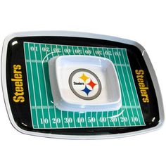 NFL Pittsburgh Steelers Sports Team Logo Food Serving Melamine Chip and Dip Tray Steelers Gear, Pittsburgh Steelers Logo, Steelers Stuff, Party Trays, Party Dips, Dip Tray, Steeler Nation, D 20, Nfl Football