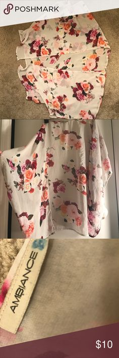[Ambiance] Floral Shaw Beautiful light floral Shaw with red and pink roses. Ambiance Apparel Tops