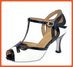 TDA Women's T-strap Peep Toe White PU Leather Salsa Tango Ballroom Latin Dance Shoes 7 M US - Athletic shoes for women (*Amazon Partner-Link)