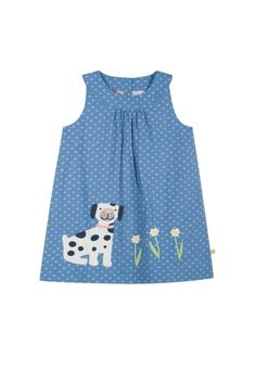 Save 40% - Now Only £15.60  This reversible pinafore dress is perfect for those ice-cream accidents! With an applique on one side and an embroidered pocket on the other, this is two beautiful dresses in one!